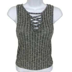 American Eagle Gray Ribbed Lace Front Tank Top